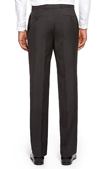 'Jeffery' | Comfort Fit, Virgin Wool Dress Pants, Dark Grey