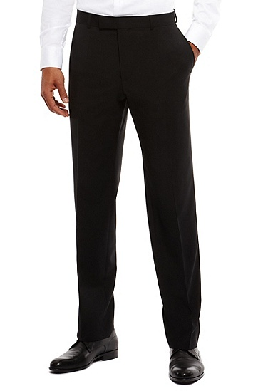 'Jeffery' | Comfort Fit, Virgin Wool Dress Pants, Black