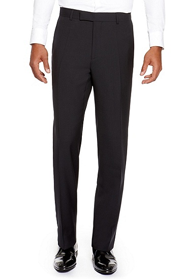 'Jeffery' | Comfort Fit, Virgin Wool Dress Pants, Dark Blue
