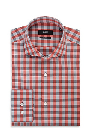 'Jason' | Slim Fit, Spread Collar Italian Cotton Dress Shirt, Orange