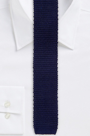 '5 cm Knit Tie' | Skinny, Solid Knit Italian Cotton Tie, Dark Blue