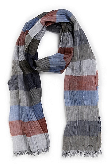 'Nefur' | Handcrafted Cotton Colorblocked Scarf, Dark Blue