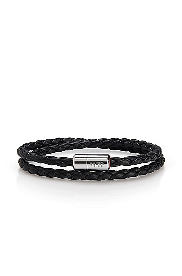 'E-Nomadic' | Braided Leather Bracelet, Black