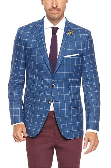 'T-Jordon' | Regular Fit, Italian Mohair-Virgin Wool Tailored Sport Coat, Blue