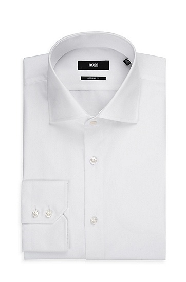 'Gerald' | Regular Fit, Spread Collar Easy Iron Cotton Dress Shirt, White