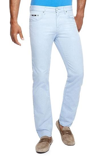 'Maine' | Regular Fit, Oxford Cotton 5-Pocket Pants, Open Blue