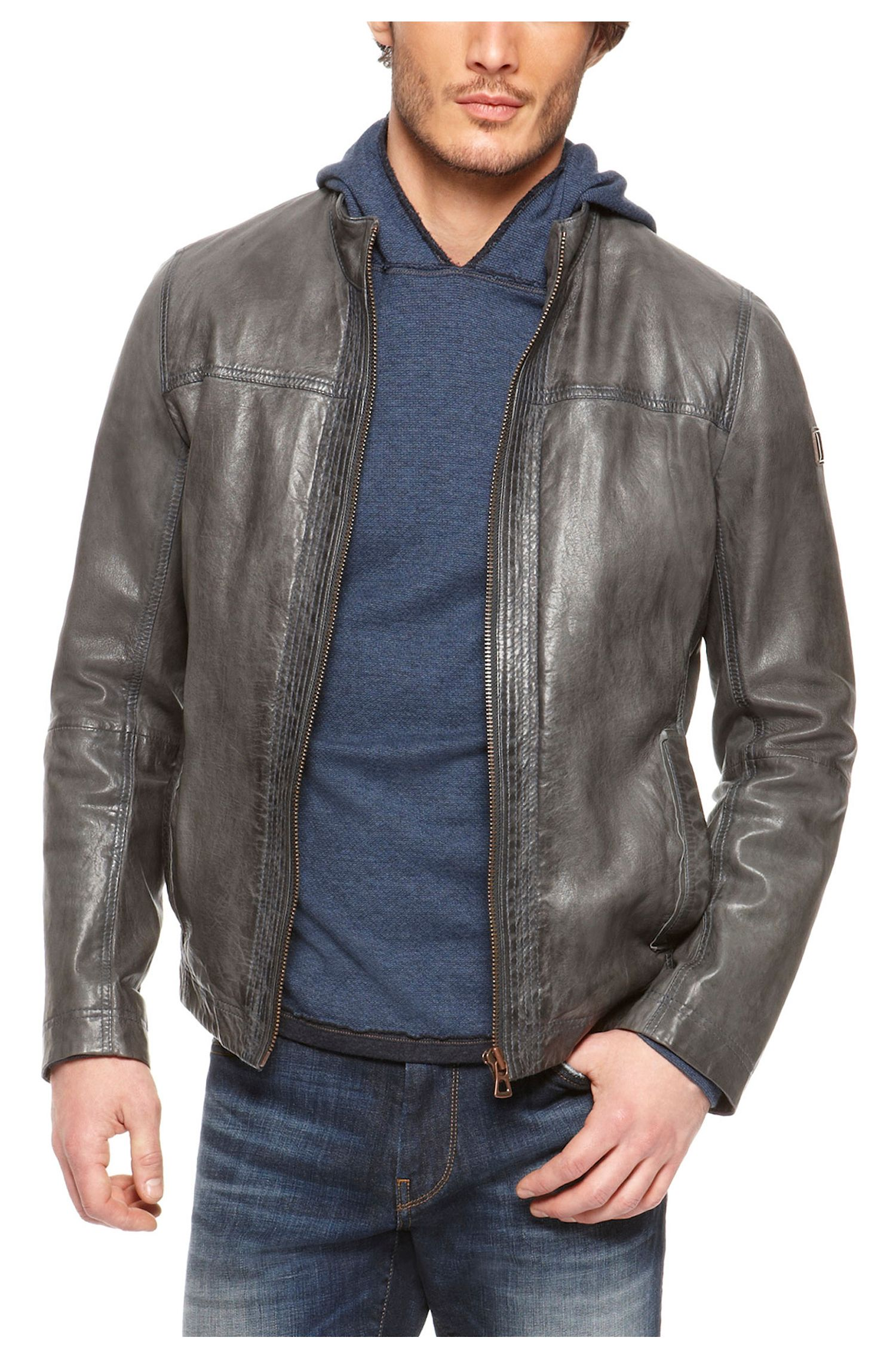 Blue Leather Jacket Leather Jacket Open Blue