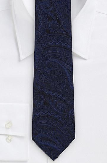 '7.5 cm Tie' | Regular, Italian Silk Tonal Paisley Tie, Dark Blue