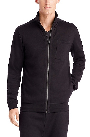 'Dimon-US' | Cotton Zip Up Sweatshirt, Black