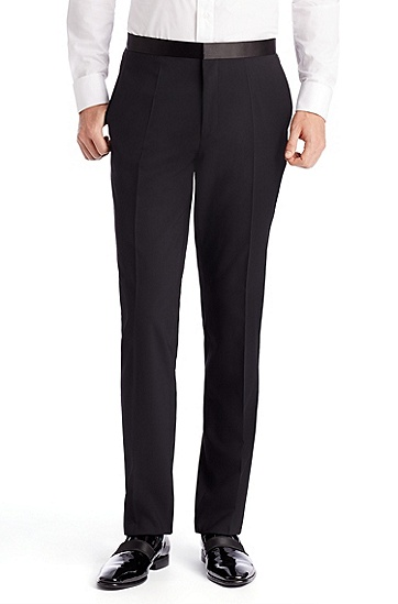 'Aylor/Herys' | Slim Fit, Stretch Virgin Wool Tuxedo, Black