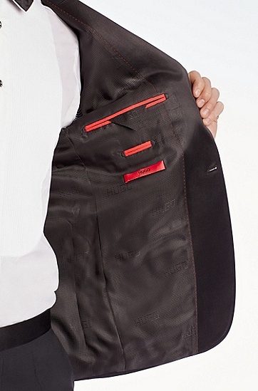 'Aylor/Herys' | Slim Fit, Stretch Virgin Wool Tuxedo, Black