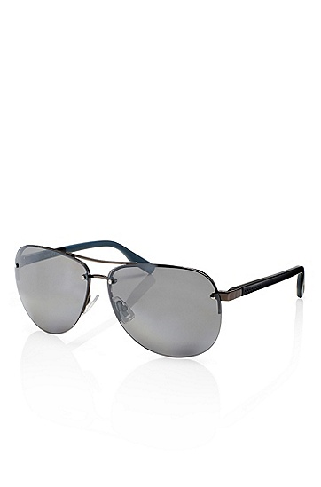 'Sunglasses' | Matte Black Rimless Aviator Sunglasses, Assorted-Pre-Pack