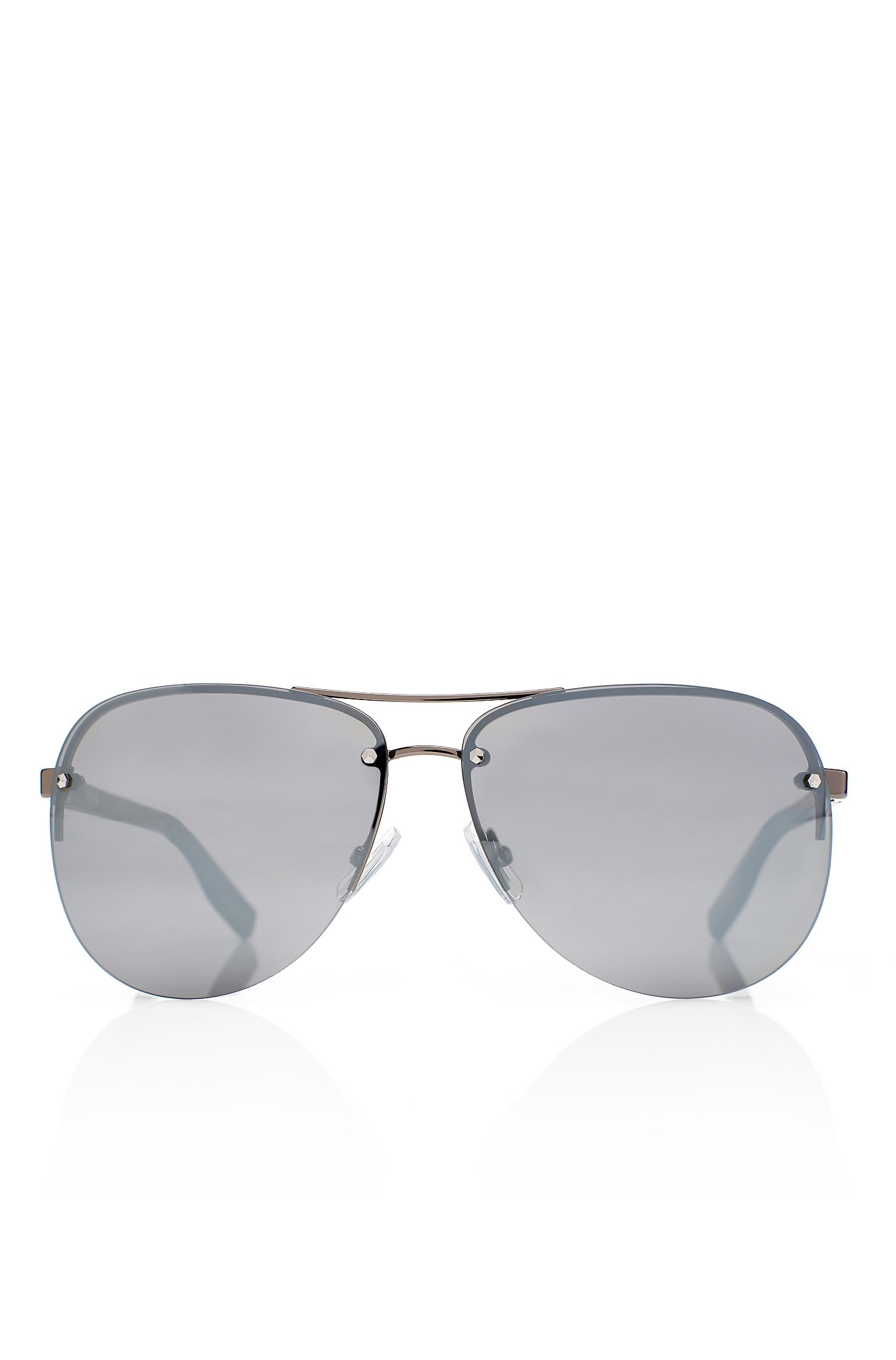 'Sunglasses' | Matte Black Rimless Aviator Sunglasses