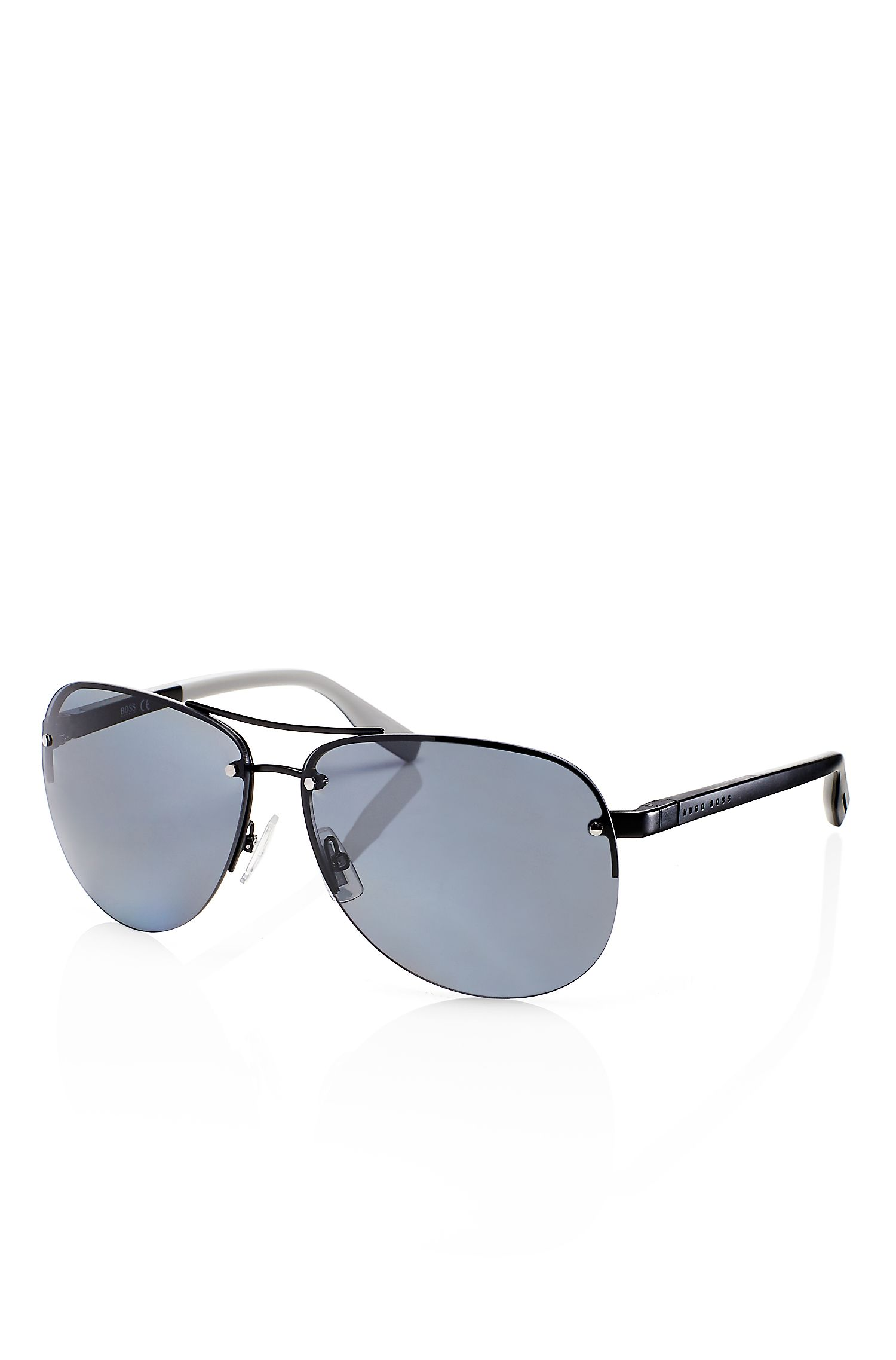 'Sunglasses' | Dark Ruthenium Rimless Aviator Sunglasses