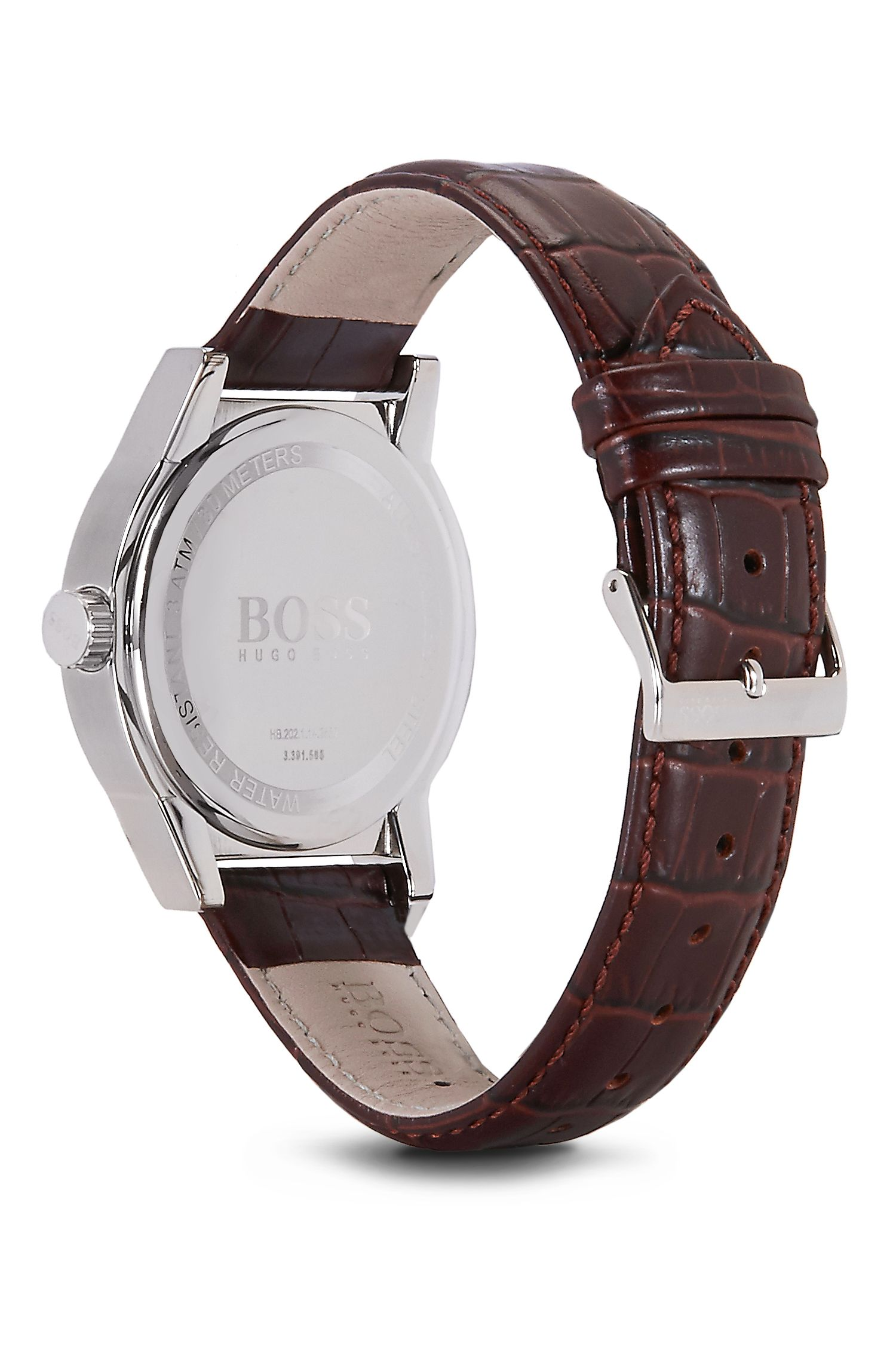 '1512912' | Brown Crocodile Embossed Leather Strap Quartz Watch