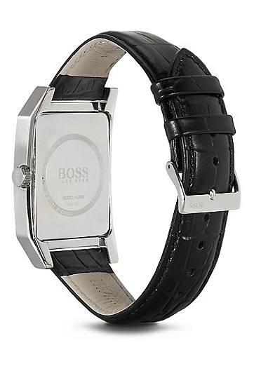 '1512915' | Black Crocodile Embossed Leather Strap 3-Hand Quartz Watch, Assorted-Pre-Pack