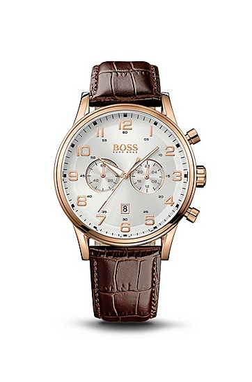 '1512921' | Chronograph Brown Crocodile Embossed Leather Strap Watch, Assorted-Pre-Pack