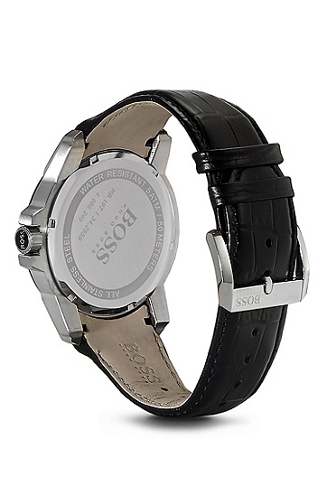 '1512922' | Black Crocodile Leather Strap Quartz Watch, Assorted-Pre-Pack