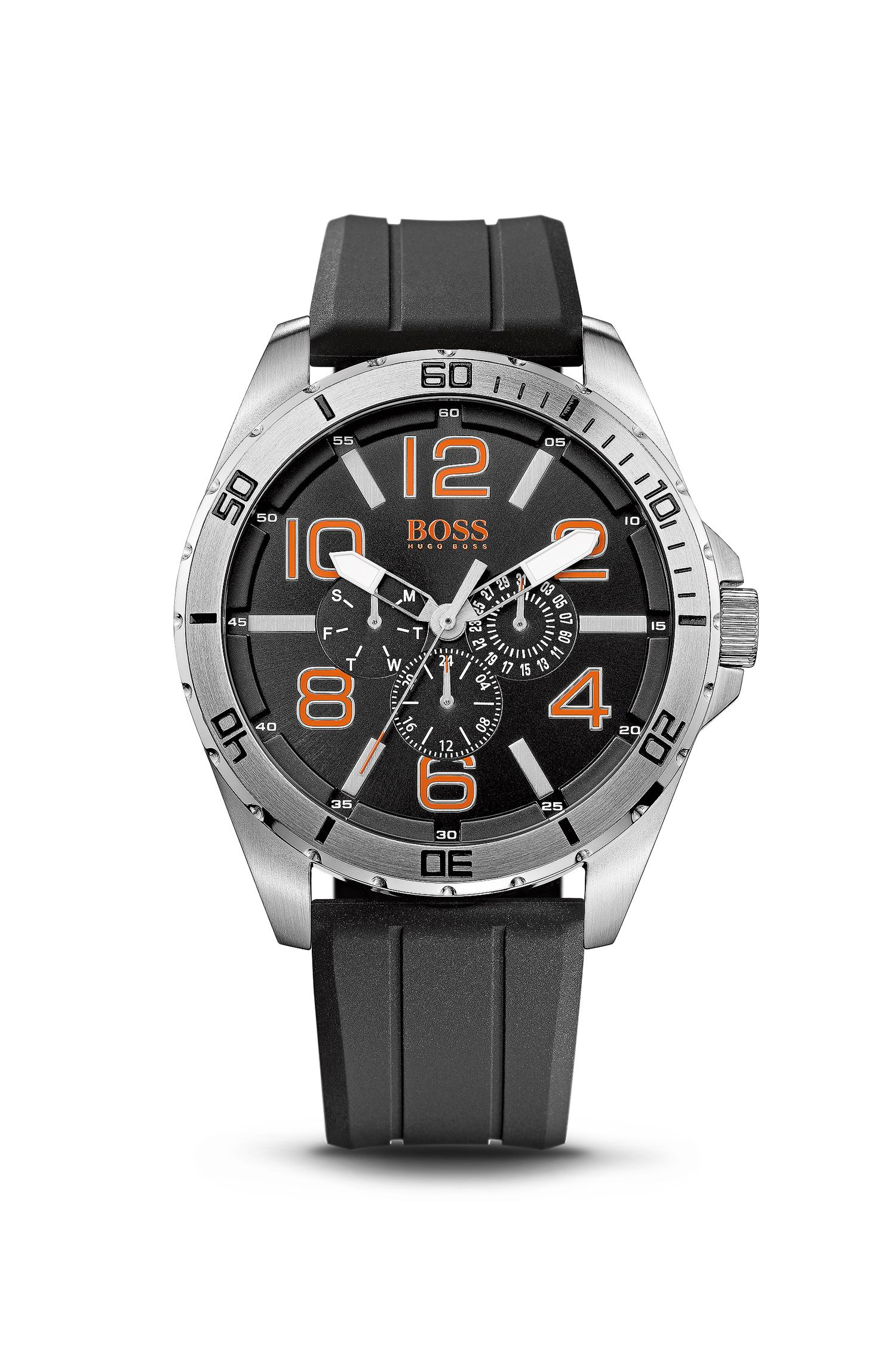 '1512945' | Chronograph Silicon Black Logo Strap Watch