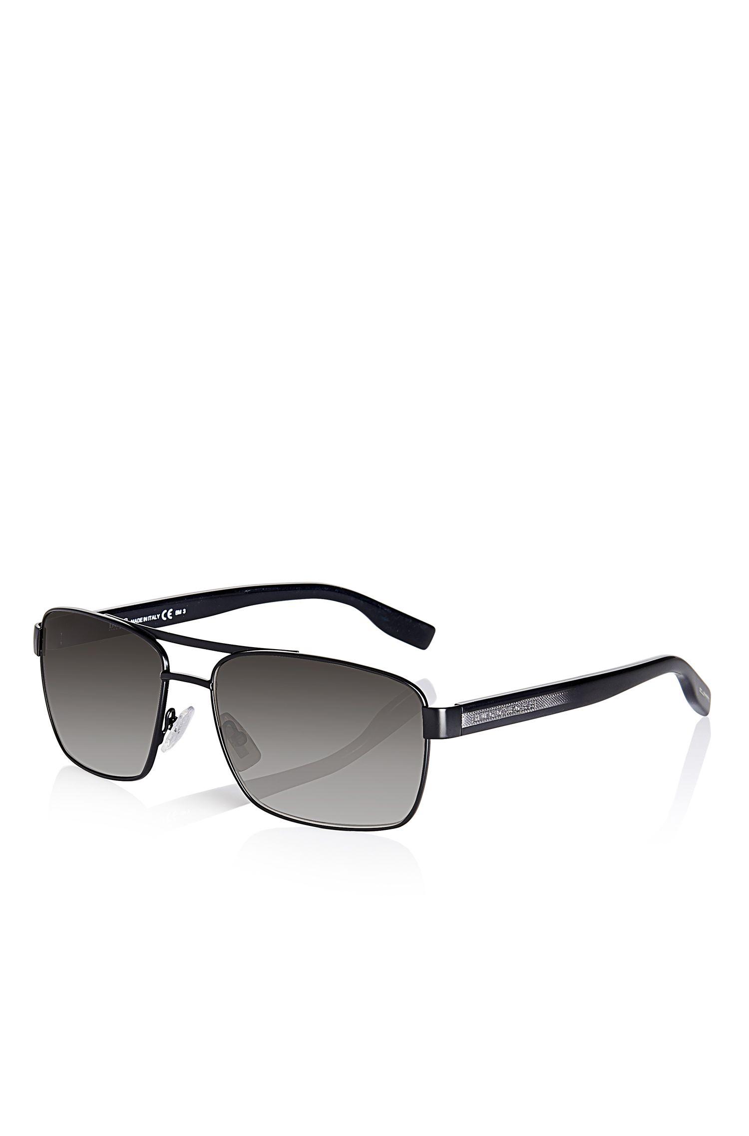 'Sunglasses' | Black Aviator Shaded Temple Sunglasses