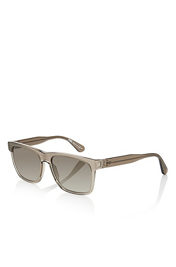 'Sunglasses' | Brown Rectangular Acetate Sunglasses, Assorted-Pre-Pack