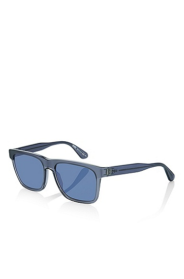 'Sunglasses' | Blue Rectangular Acetate Sunglasses, Assorted-Pre-Pack