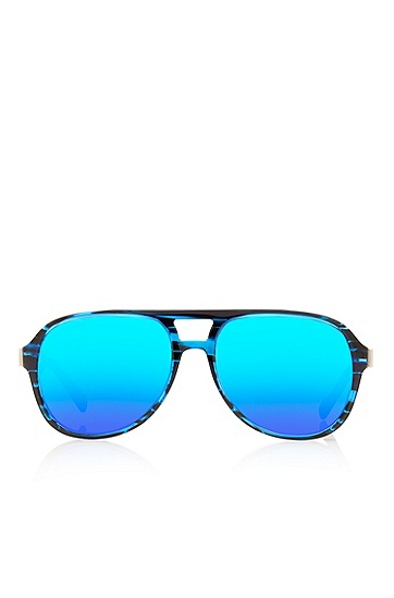 'Sunglasses' | Blue Double Bridge Aviator Sunglasses, Assorted-Pre-Pack