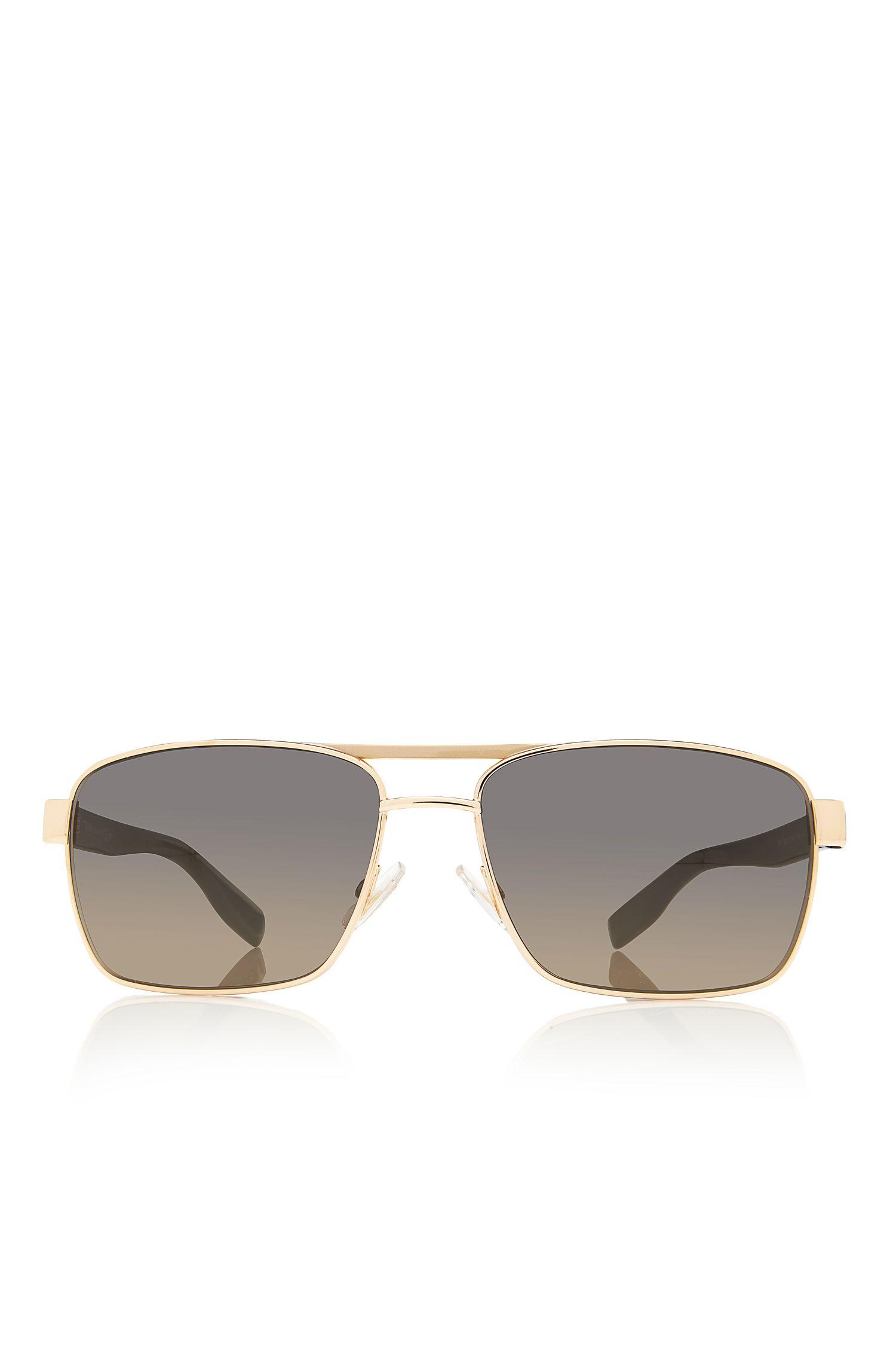 'Sunglasses'   Gold Aviator Shaded Temple Sunglasses