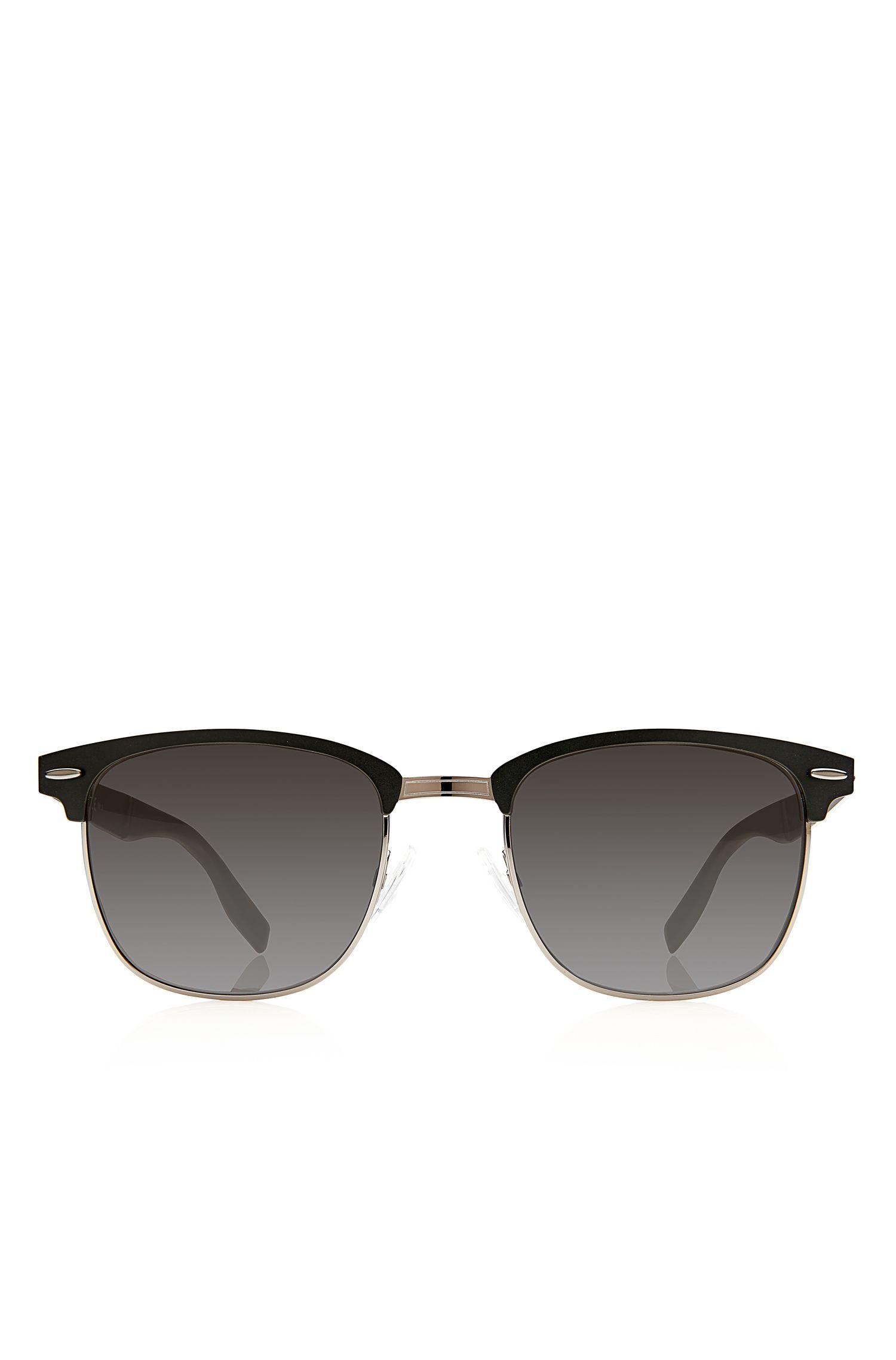 'Sunglasses' | Matte Black Semi-Rimless Sunglasses