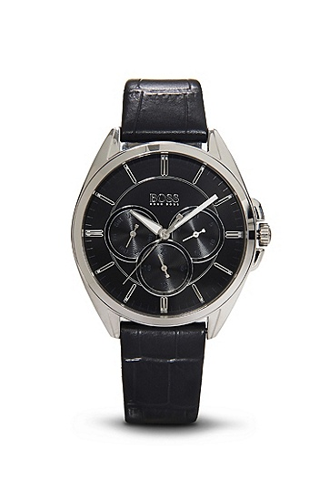 '1502359' | Chronograph Black Croc-Embossed Leather Watch, Assorted-Pre-Pack