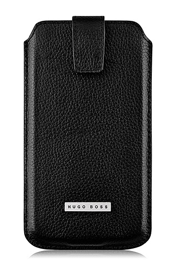 'Barcelona XXL' | Leather Sleeve Universal Phone Case, Black