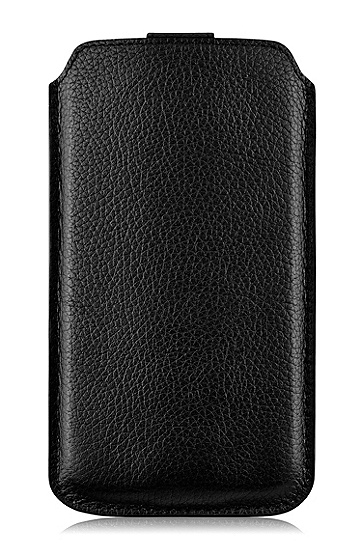 'Barcelona XXL' | Leather Sleeve Universal Phone Case, Black