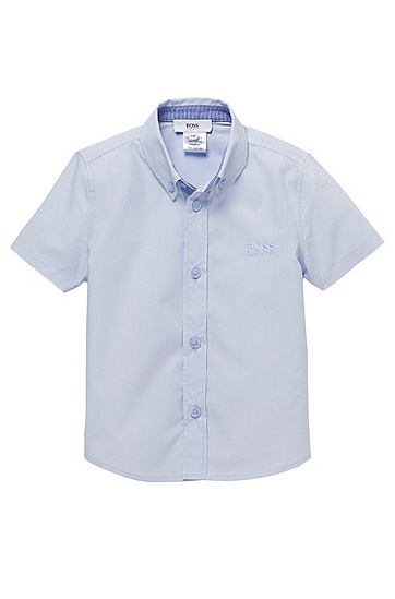 'J05290' | Toddler Cotton Short-Sleeved Button Down Shirt, Light Blue