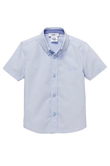 'J05290' | Toddler Cotton Short-Sleeved Button Down Shirt, Light Blue