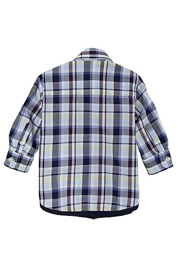 'J05294' | Toddler Cotton Check Button Down Shirt, Blue