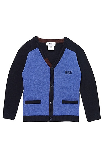 'J05297' | Toddler Cotton Knit Cardigan, Dark Blue
