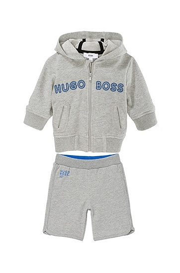 'J05299' | Toddler Cotton Piqué Fleece Hooded Zip Sweatshirt, Grey
