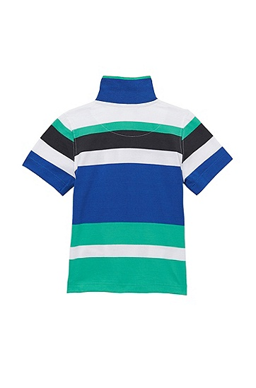 'J05306' | Toddler Cotton Jersey Stripe Polo Shirt, Blue