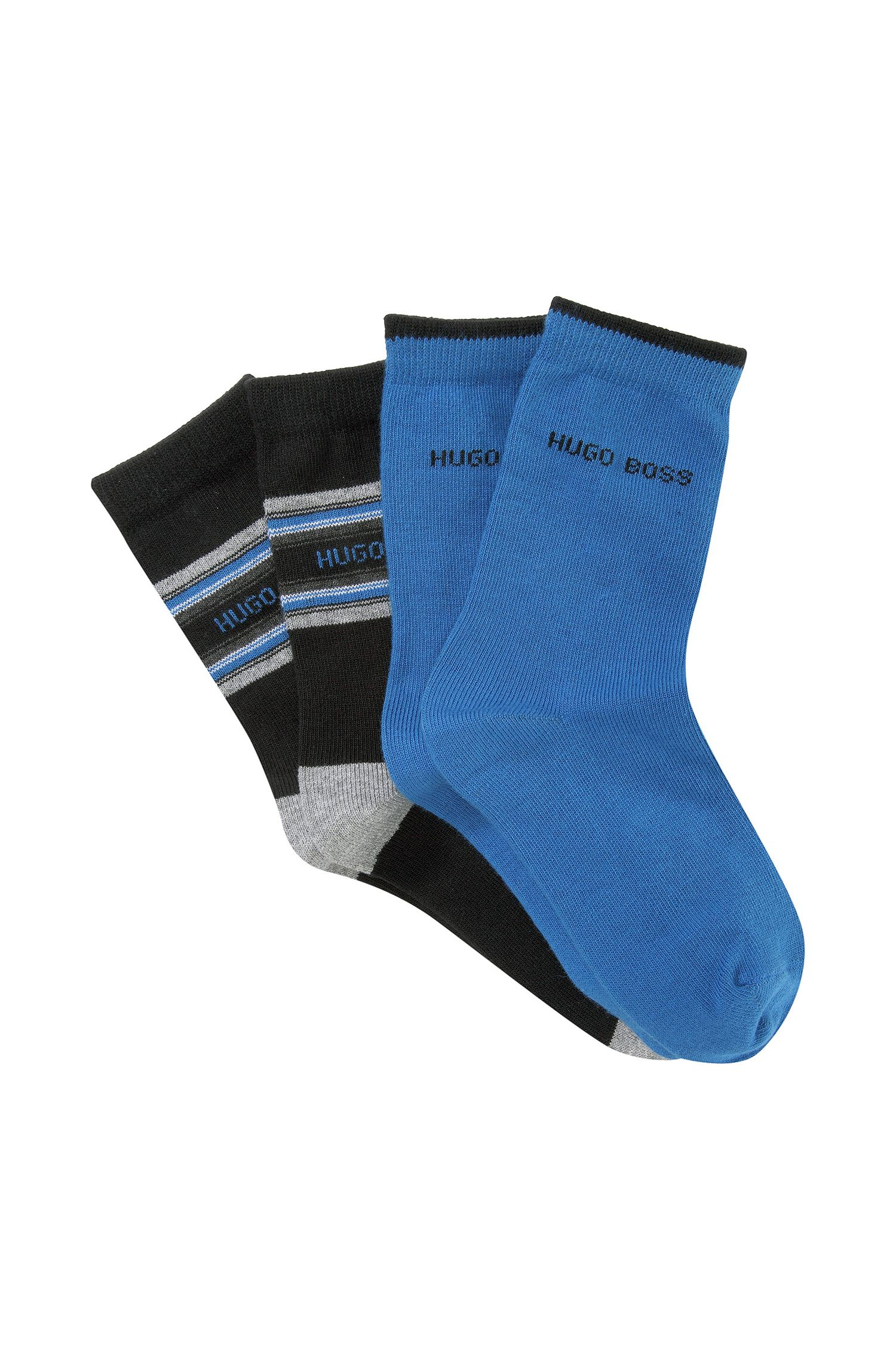'J20135' | Two Pack Solid and Striped Socks