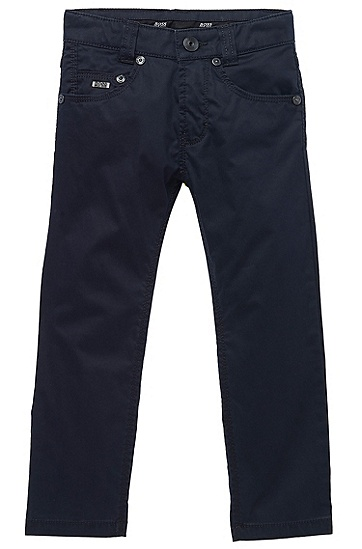 'J24288' | Boys Cotton Twill Pants, Dark Blue