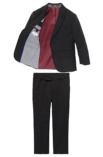 'J24292' | Boys Wool Suit Pants, Black
