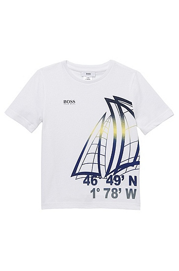 'J25622' | Boys Graphic Cotton Jersey T-Shirt, White