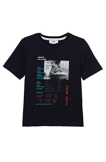 'J25623' | Boys Cotton Jersey Graphic Print T-Shirt, Dark Blue