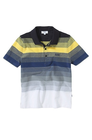 'J25636' | Boys Cotton Stripe Polo Shirt, Yellow