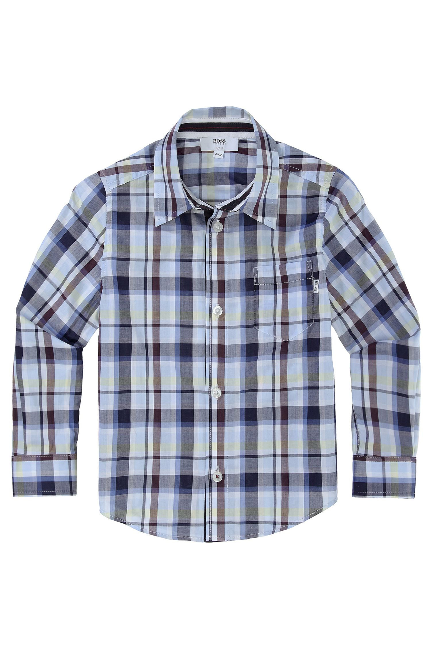 'J25641' | Boys Cotton Check Button-Down Shirt