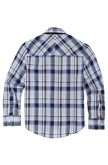 'J25641' | Boys Cotton Check Button-Down Shirt, Blue