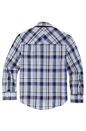 'J25641' | Boys Cotton Check Button-Down Shirt, Blue