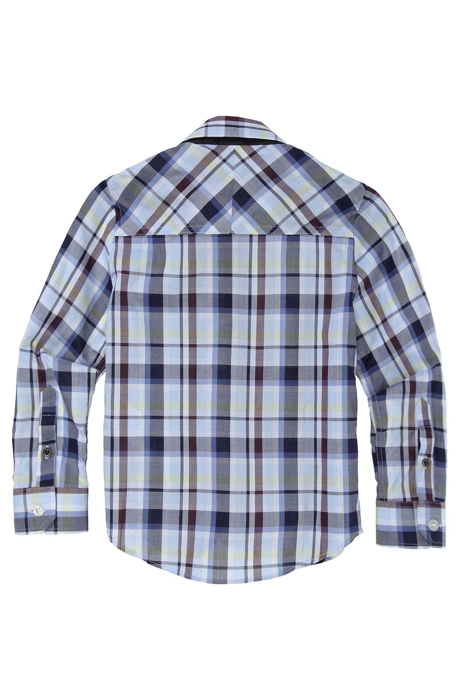 'J25641' | Boys Cotton Check Button-Down Shirt
