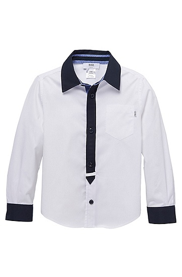 'J25644' | Boys Cotton Contrast Detail Button-Down Shirt with Elbow Patches , White
