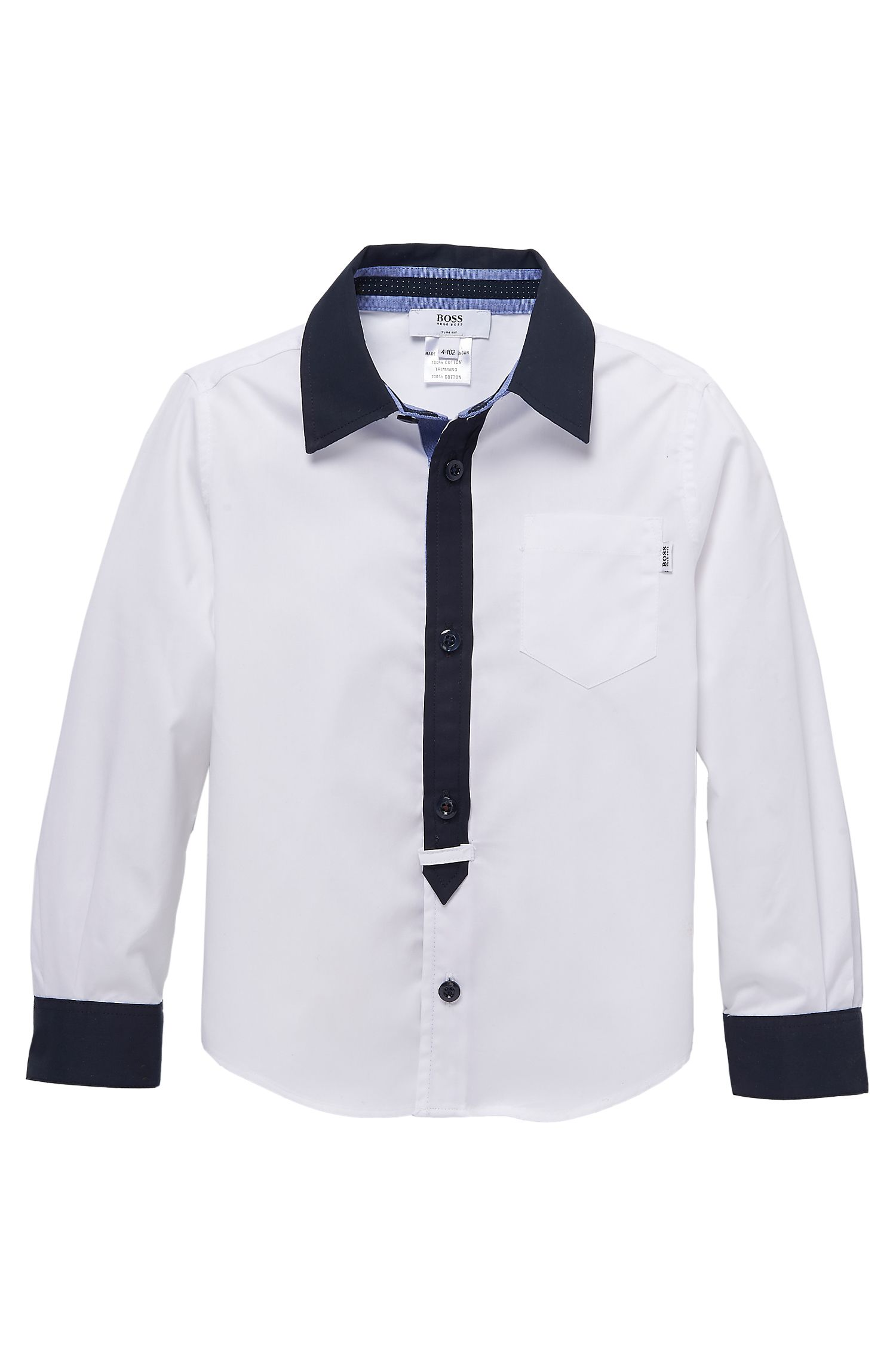 'J25644' | Boys Cotton Contrast Detail Button-Down Shirt with Elbow Patches